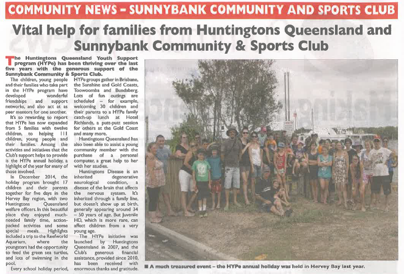 2015 11 Sunnybank Community & Sports Club News
